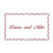Maroon Leaf Scroll/White Custom Thank You Note