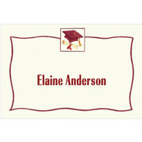 Red Simple Mortarboard Custom Thank You Notes
