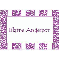 Lilac Leopard Stripe Custom Thank You Note