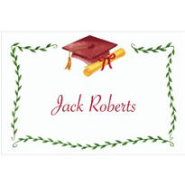 Custom Crimson Mortarboard & Ivy Graduation Thank You Notes
