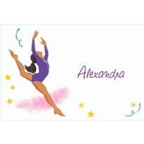 Leaping Gymnast Latina Custom Thank You Note