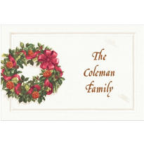 Front Door with Wreath Custom Christmas Thank You Note