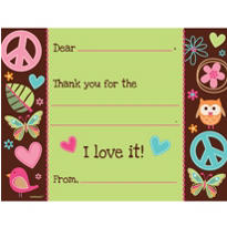 Hippie Chick Fill In Thank You Notes 8ct