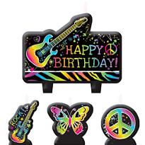Neon Doodle Birthday Candles 4ct
