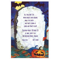 Spooky Tombstone Halloween Custom Invitation