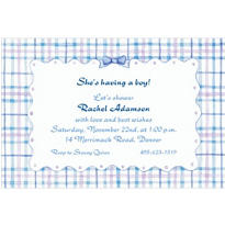 Blue Plaid with Ribbon Custom Baby Shower Invitation