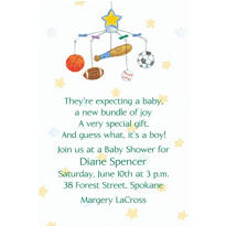Sporty Baby Mobile Custom Baby Shower Invitation