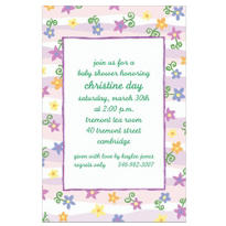 Purple & Pink Stripe Custom Baby Shower Invitation