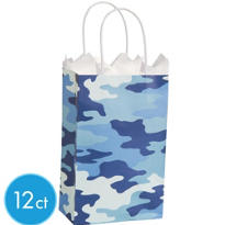 Blue Camo Mini Gift Bags 12ct