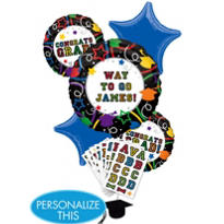 Foil Personalized Graduation Balloon Bouquet 6pc