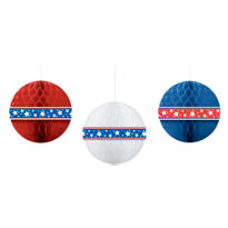 Patriotic Honeycomb Balls 11 1/2in 3ct