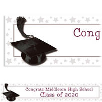 White Congrats Grad Custom Graduation Banner 6ft