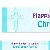 Custom Blue Radiannt Cross Religious Banner 6ft