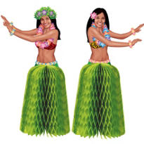 Tiki Honeycomb Hula Girl Centerpieces 2ct