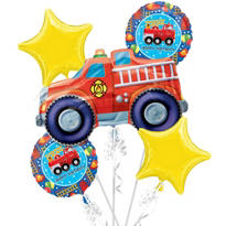 Happy Birthday Balloon Bouquet 5pc - Fire Engine