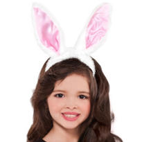 Plush Satin Bunny Ears Headband