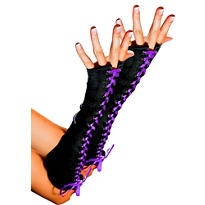 Purple Ribbon Lace-Up Fingerless Gloves