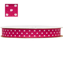 Bright Pink Polka Dot Ribbon 3/8in 12ft