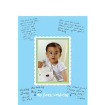 Blue 1st Birthday Autograph Photo Frame