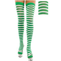 Adult Green and White Striped Thigh High Stockings
