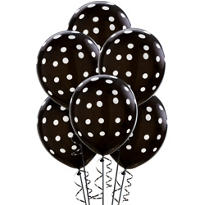 Latex Black Polka Dot Balloons 12in 6ct