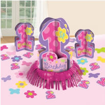 Hugs and Stitches Girl 1st Birthday Table Decorating Kit
