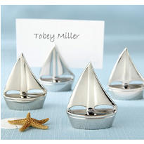 Silver Sailboat Place Card Holders Favor 4ct