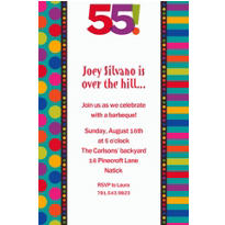 Birthday Dots & Stripes 55 Custom Invitation