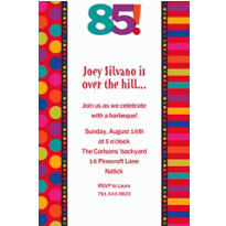 Birthday Dots & Stripes 85 Custom Invitation