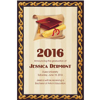 Custom Red Grad Portrait Graduation Announcements