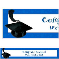 Blue Congrats Grad Custom Graduation Banner 6ft