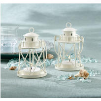 White Lighthouse Tea Light Holder Wedding Favor