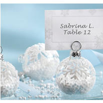 Snow Flurry Flocked Glass Place Card Holder Wedding Favor 6ct