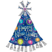 Foil New Years Party Hat Balloon 35in