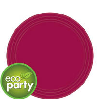 Eco Friendly Raspberry Round Paper Dessert Plates 7in 24ct
