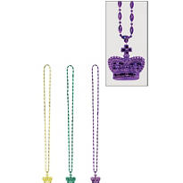 Mardi Gras Beads with Crown Pendant 30in 3ct