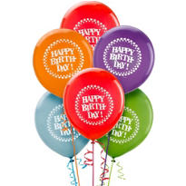 Happy Birthday Balloons 15ct - Rainbow Dot