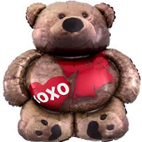 Foil Cuddly Bear Valentines Day Balloon 28in