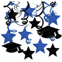 Blue Graduation Swirl Decorations 30ct