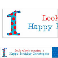 Big 1st Birthday Blue Custom Banner 6ft