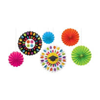 Colorful Commencement Fan Decorations 6ct