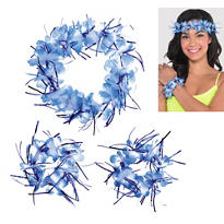 Blue Tinsel Head & Wrist Lei Set 3pc