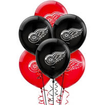 Latex Detroit Red Wings Balloons 6ct