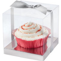 Silver Cupcake Box Wedding Favor Kit 20ct