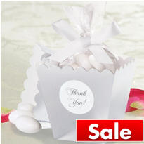 Silver Popcorn Box Wedding Favor Kit 50ct