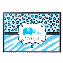 Blue Safari Baby Shower Thank You Notes 20ct