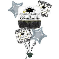 Foil Black & White Graduation Balloon Bouquet 5pc