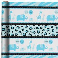 Blue Safari Gift Wrap