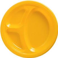 Sunshine Yellow Plastic Divided Dinner Plates 20ct