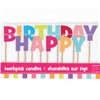 Toothpick Girls Birthday Candles 13pc